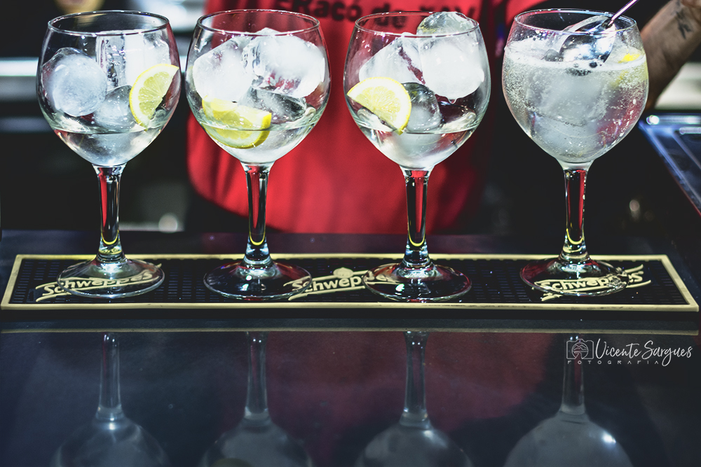 Preparando gin tonics